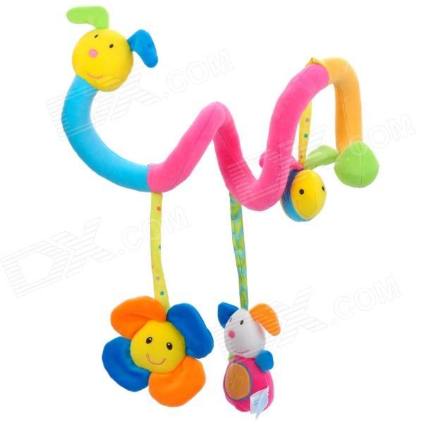 Cute Cartoon Animals Baby Bed Hanging Toy - Yellow + Pink + Green