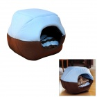 Folding Dual-Side Soft Plush Pet Dog / Cat Warm Mongolian Nest Bed - Coffee + Blue