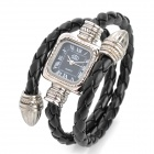 Fashion Lady's PU Band Quartz Analog Waterproof Bracelet Wrist Watch - Black (1 x LR626)