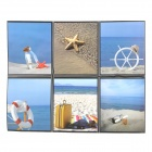 Seaside Scenery Pattern 6-in-1 Ceramic Glass Sticker - Blue + Sand Color