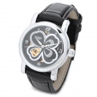 CJIABA LA2013-B Lady's Clovers Pattern Artificial Leather Band Mechanical Analog Wrist Watch - Black