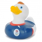 121205 Team GB Clothes Pattern Funny Floating PVC Duck Bath Toy for Kids - Sapphire Blue + White