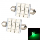 Festoon 41mm 2.16W 240lm 12-5050 SMD LED Green Light Car Reading / Interior / Door Lamp (2 PCS)