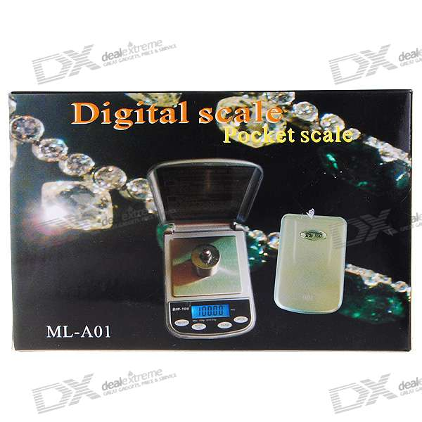 Backlighted LCD Precision Pocket Digital Scale (500g Max/0.1g Resolution)