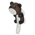 Cute Cartoon Bear Style Handheld Shower Head w/ Suction Cup Mount Holder - Brown