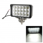 45W 2700lm 6000K 15-LED White Light Indicator Lamp - Schwarz (DC 10 ~ 30V)