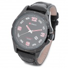 CURREN 8121 Fashion Man's PU Band Quartz Analog Waterproof Wrist Watch - Black (1 x LR626)