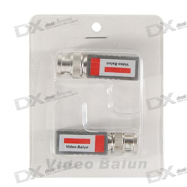 Video Balun Transceivers - Shielded BNC Video over UTP Cable Adapters (2-Piece Set)