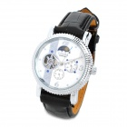 CJIABA GX-501 Artificial Leather Band Self-Winding Mechanical Analog Skeleton Wrist Watch - Black