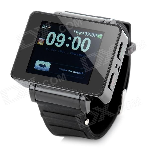 i5 GSM Watch Phone w/ 1.8 Resistive Screen, Quad-Band, FM and Single-SIM - Black s18 gsm watch phone w 1 5 screen quad band bluetooth and fm black