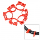 Stylish Wire Cord Cable Ring Clamp Organizer - Red (6 PCS)