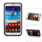Protective Plastic Case w/ Foldable Holder for Samsung N7100 - Black + Red