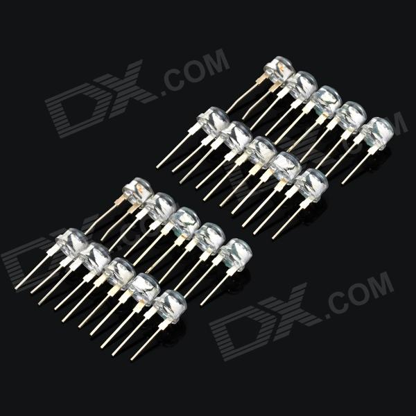 7018 F8mm 0.5W 6000~8000mcd 6500K LED White Light Bulbs Set - White (20 PCS)
