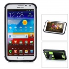 Protective Plastic Case w/ Foldable Holder for Samsung N7100 - Black + Green