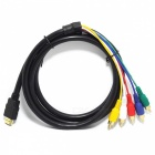 0121214-10 HDMI Male to 5-RCA Male Audio Video Cable - Black (170cm)