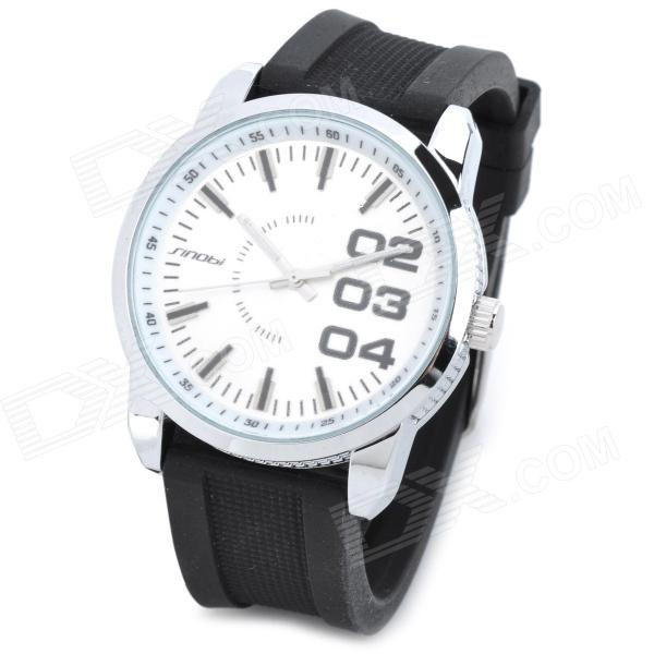Y545 Fashion Water Resistant Rubber Band Analog Quartz Wrist Watch for Men - White