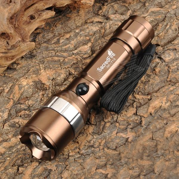 SacredFire NF-713 Cree XM-L T6 600lm 3-Mode White Zooming Flashlight - Brown (1 x 18650)