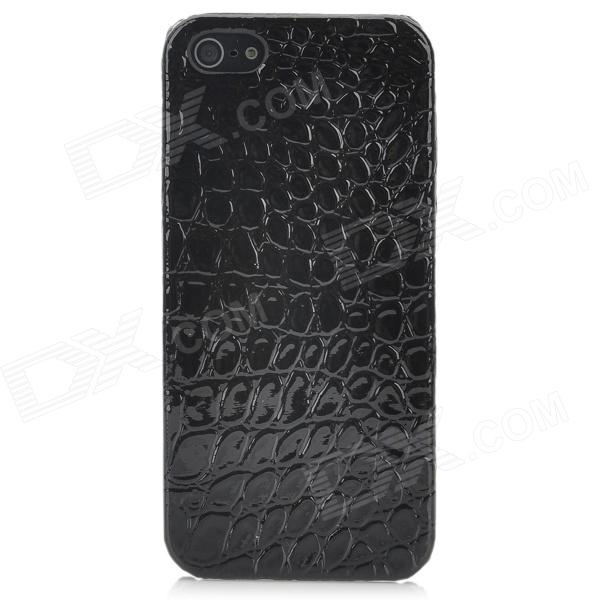 Alligator Pattern Protective PU Leather Plastic Back Case for Iphone 5 - Black for iphone 7 plus 5 5 inch grid pattern pu leather back case grey