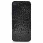 Alligator Pattern Protective PU Leather Plastic Back Case for Iphone 5 - Black