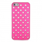 Rivets Studded Protective PC Back Case for Iphone 5 - Silver + Deep Pink