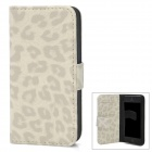 Leopard Grain Pattern Protective PU Leather Flip-Open Case w/ Card Slot + Stand - Beige