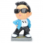TG022 Cool Gangnam Style Cartoon Park Jae-Sang Resin Decoration Coin Bank - Black + White + Blue