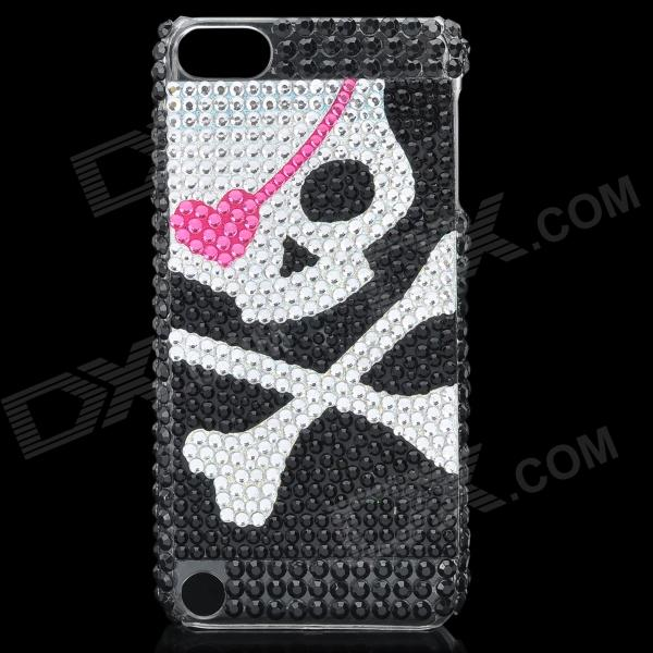 Skull Pattern Protective Crystal Plastic Back Case for Ipod Touch 5 - Silver + Black