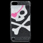 Skull Pattern Protective Imitation Diamonds Plastic Back Case for iPod Touch 5 - Silver + Black