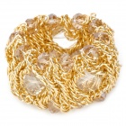 Round Small Lantern Style Crystal Decorated Electroplating Golden Metal Chain Bracelet - Golden