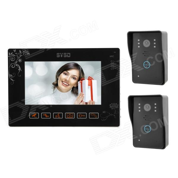 SY901MJ21 9 Color TFT 4-CH Monitor Visible Doorbell w/ Night Version - Black wired video door phone new 7inch color tft lcd monitor screen video doorphone touch button outside panel of video intercom black