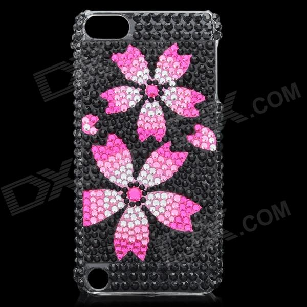 Sakura Pattern Protective Crystal Plastic Back Case for Ipod Touch 5 - Black + Deep Pink