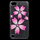 Sakura Pattern Protective Imitation Diamonds Plastic Back Case for iPod Touch 5 - Black + Deep Pink