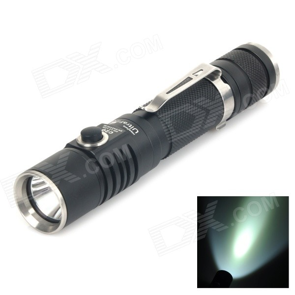 UltraFire C20 800lm 4-Mode White Dimming Flashlight - Black (1 x 18650 2 x CR123A) - DX18650 Flashlights<br>Brand: UltraFire Model: C20 Product Color: Black Material: Aluminum Alloy Emitter Brand: Cree LED Type: XM-L BIN: U3 Color: Cool White Number of Emitters: 1 Voltage Input: 3.2~6V Battery Configuration: 1 x 18650 2 x CR123A (not included) Circuitry: 2400mA Brightness: 800lm Runtime: 1.5 hours Number of Modes: 4 Mode Arrangement: Hi &amp;gt; Lo (5%~100% dimming long pressing 3 seconds under Hi / Lo mode) &amp;gt; Fast Strobe (Continuously fast click switch button twice when in Hi / Lo mode) &amp;gt; SOS (Continuously fast click under fast strobe mode) Mode Memory: No Switch Type: Forward clicky Switch Location: Tailcap (Power switch) / Head (Mode switch) Lens: Glass lens Reflector: Aluminum Smooth / SMO Strap Included: No Clip Included: Yes Beam Range: 100m Other Accessory: 1 x Flashlight 1 x Carrying case<br>