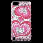 Love Hearts Pattern Protective Imitation Diamonds Plastic Back Case for iPod Touch 5 - Pink