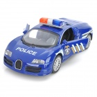 FY8080P 1:32 Alloy Drive Back Racing Police Car Toy w/ Headlight + Alarm Sound - Blue