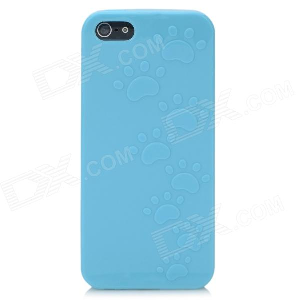 Footprint Pattern Protective TPU Back Case for Iphone 5 - Blue