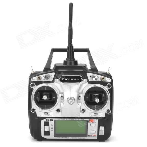 Flysky FS-T6 2.4GHz 6-CH 2.9 LCD TX Transmitter + RX Receiver Radio Control System - Black (8 x AA) flysky 2 4g 6ch channel fs t6 transmitter receiver radio system remote controller mode1 2 lcd w rx rc helicopter multirotor