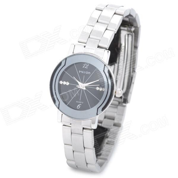 Wilon 2707 Fashion Stainless Steel Band Analog Quartz Wrist Watch for Women - Black + Silver fashion stainless steel quartz analog wrist watch for women silver blue 1 x lr626