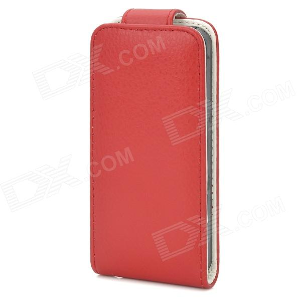 Lichee Pattern Protective PU Leather Top Flip-Open Case w/ Buckle for Iphone 5 - Red