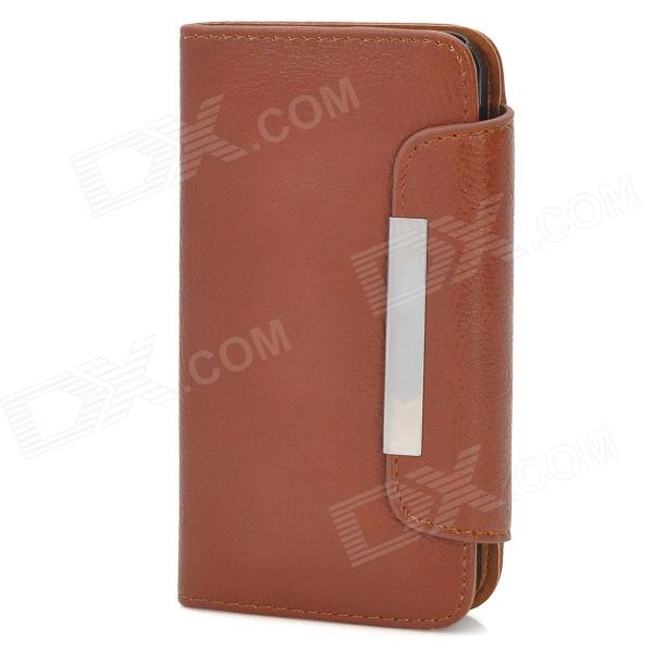 Protective PU + Plastic Flip-Open Case w/ Card Slot + Magnet for iPhone 5 - Brown
