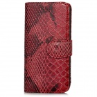 Snake Pattern Protective PU Leather Flip-open Case w/ Card Slots for Iphone 5 - Auburn