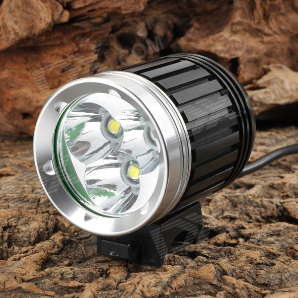 NEW-366 2800lm 4-Mode White Outdoor Headlamp - Black + Silver (4 x 18650) 2800lm 3 mode white bicycle headlamp w 4 x cree xm l t6 grey
