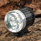 NEW-366 3 x CREE XM-L T6 2800lm 4-Mode White Outdoor Headlamp - Black + Silver (4 x 18650)