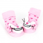 Cute Rabbit Style Baby Non-Slip Cotton Socks - Pink + White (Pair)