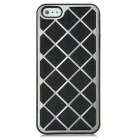 Checked Pattern Protective PU Leather Aluminum Alloy Back Case for iPhone 5 - Black