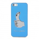 FC-05 Cool Thumb Pattern Protective PC Hard Back Case for Iphone 5 - Silver + Light Blue