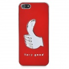Very Good Thumb Pattern Protective PC Electroplating Case for Iphone 5 - Red