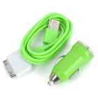 Car Cigarette Lighter Charger w/ USB to Micro USB Cable + 30Pin Adapter for iPhone 4 / 4S - Green