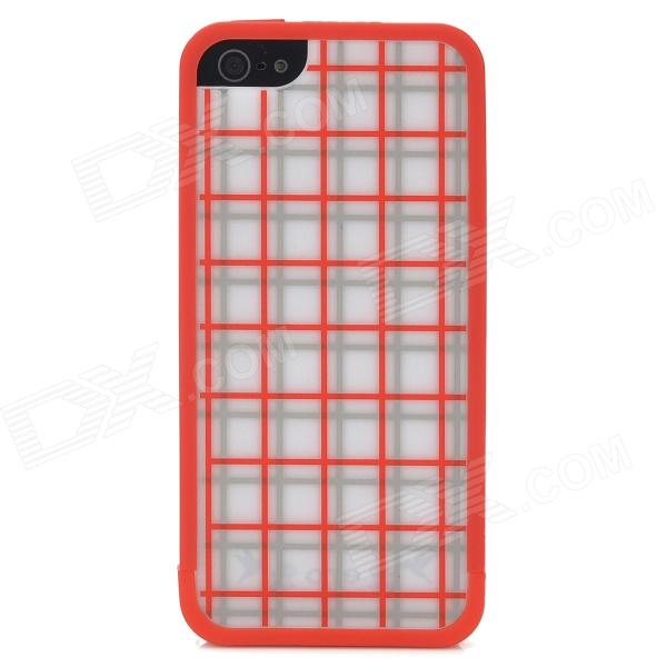 Grid Pattern Protective Plastic Back Case for iPhone 5 - Red + Grey White