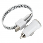 Car Cigarette Lighter Charger w/ Micro USB 5Pin to 8Pin Adapter for iPhone 5 + More - White